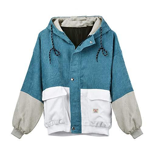 MOTOCO Herbst und Winter Langarm Cordjacke für Frauen Multicolor Patchwork Oversize Windbreaker Coat Overcoat(L,Blau)