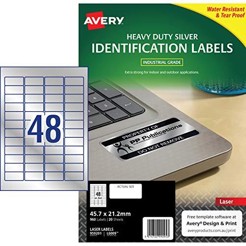 Avery Silver Heavy Duty Labels Laser L6009 Etiquetas De Impresora Plata Laser