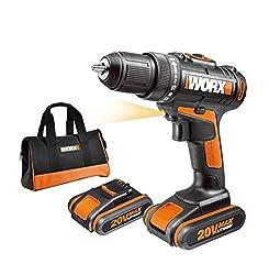 WORX WX170 Akkuschrauber 20V - 30Nm, 2-Gang-Getriebe & LED-Licht - Akkubohrschrauber Set zum Bohren & Schrauben - mit 2 Li-Ion Akkus, Ladegerät & Werkzeug Tasche