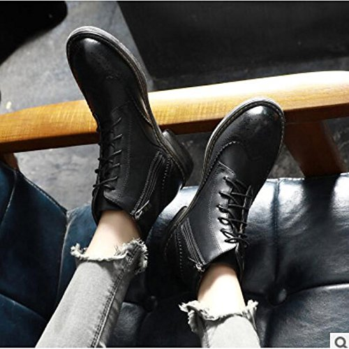 HSXZ Scarpe donna pu Autunno Inverno Comfort stivali Chunky tallone punta tonda Babbucce/stivaletti di abbigliamento casual kaki nero Khaki