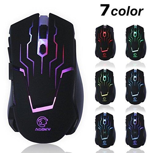 agoky fx087ergonómico Gaming ratón 4ppp ajustable, 6botones, LED 7Disparo Colores, Super durabilidad ratón con cable ratón para PC, portátil, ordenador (negro)