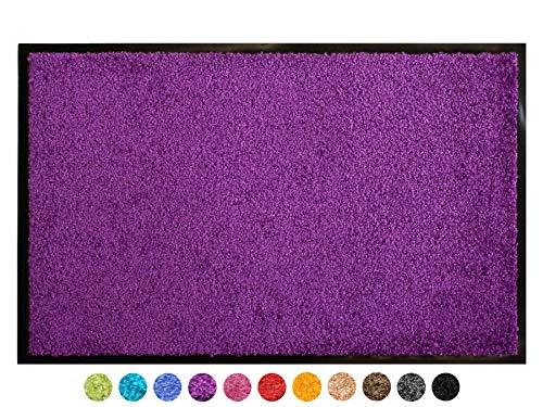 Schmutzfangmatte CLEAN - Lila Violett 90x150 cm, Waschbare, Rutschfeste, Pflegeleichte Fußmatte, Eingangsmatte, Küchenläufer Sauberlauf-Matte, Türvorleger für Innen & Außen