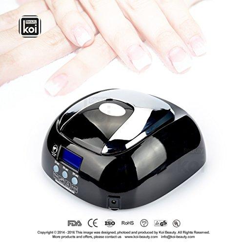 Koi Beauty Nail Professionnel Produit Sèche-48W LED UV Lampe de beauté Affichage Temps Processus Système de ventilation automatique Pratique noir