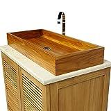 wohnfreuden Teakholz Doppel-Waschbecken rechteckig 90x40x12 cm ✓ lasiert und poliert ✓ Top Qualität ✓ einzeln geprüft und fotografiert ✓ Aufsatzwaschbecken aus Teakholz für ihr Badezimmer ✓ schnell