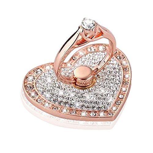 Uming® [ Heart Shaped-Rose Gold ] Bling Rhinestone Full Diamond Metal Style 360 Rotate Ring Stick Phone Holder Finger Grip Stand Bracket kickstand Buckle Rhinestone Stand Holder Suitable for Any Mobile Phones ( IPhone, 5s, 5, SE, 6, 6s, Plus,Samsung, S6, S7, Edge, IPad, Pro, Mini, Air )