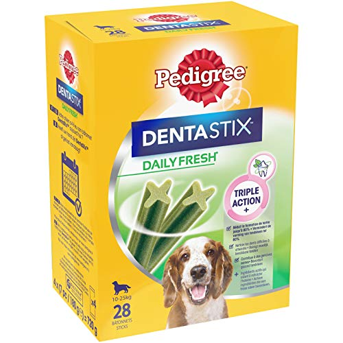 Pedigree Dentastix Fresh - Friandises pour Moyen Chien, Lot de 4 (4 x 28 = 112 Bâtonnets à Mâcher en totale)