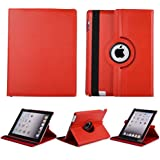 San Pareil, Apple IPad, Apple Ipad 2, Apple Ipad 3, Apple Ipad 4, 360-Degree Rotating Hard Folio Case(RED) With Tablet Stand And Camera Hole, Made Of PU Leather, With Extra Strong Back( Ipad , 2, 3, 4 Only)