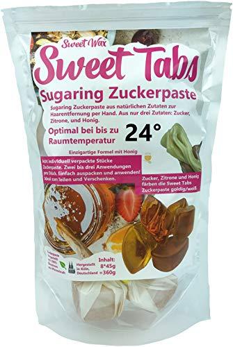 Sweet Tabs 24° Gold Brazilian Wax. Einfach auspacken, kneten und anwenden. Enthaarungswachs aus Sugaring Zuckerpaste zur Haarentfernung per Hand. Keine Vliesstreifen oder Erwärmen nötig. 8 * 45g =360g
