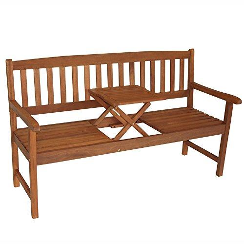 Gartenbank 3-Sitzer 158x59x90cm Holz Eukalyptus FSC Klapptisch