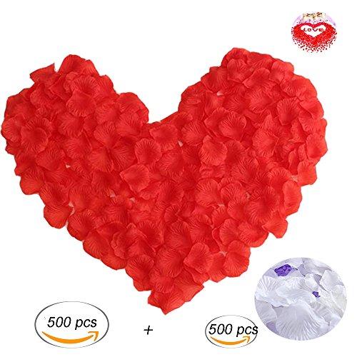 Romantische Rose Peach (1000 Stück Rosenblätter Rosenblüten,Dancepandas Kunstblumen für Feier Deko Hochzeit Party und Romantische Atmosphäre(500 weiß und 500 schwarz))