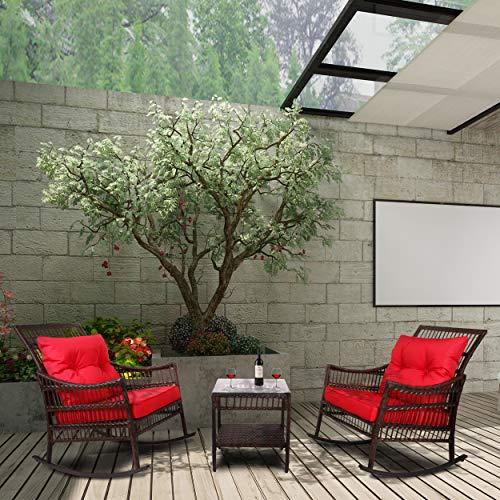 youke set 2 sedie a dondolo da giardino con tavolino con cuscini esterno rattan marrone