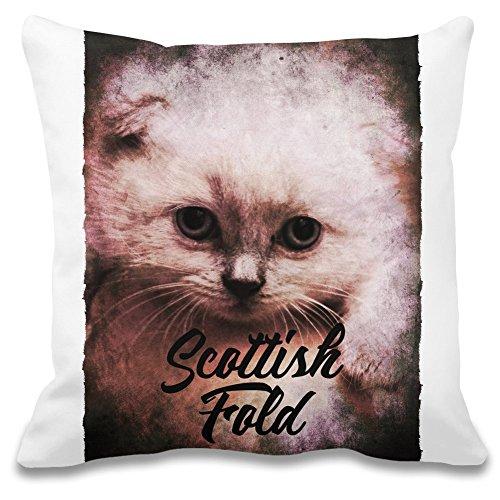 Harma Art Scottish Fold Blätterteig - Scottish Fold Puff Decorative Pillow Case - 100% Soft Polyester Cushion Cover - Decorative Bedding Accessories -