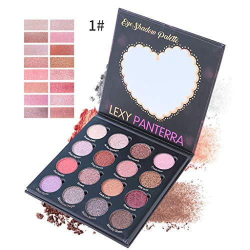 Lidschatten Palette Perlglanz matt mit 16-Farbe, Pearlescent Eyeshadow Wasserdichter, Glow...
