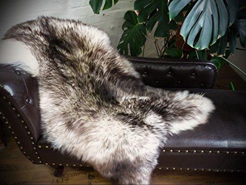 Öko Schaffell Lammfell Fell weiß - taupe 110-120cm