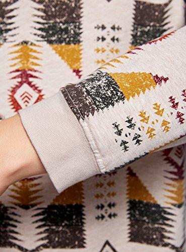 oodji Ultra Damen Lässiges Sweatshirt mit Ethno-Druck Beige (3331E)