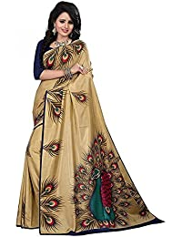 J.AnanD Women's Designer Party Wear Mysore Silk Print Saree With Blouse Piece (Golden With Peacock Design_Free...