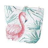 Home Collection Beach Bag Strandtasche Shopper Flamingo mit Palmenblättern 52cm