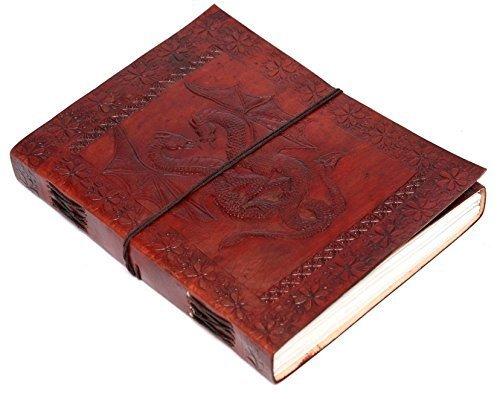 Zap Impex ® - Diario de piel de dragón doble hecho a mano en blanco, tamaño diario o cuaderno (7-5 pulgadas) con cierre de corbata