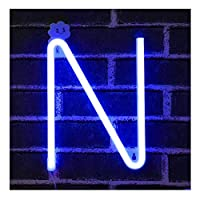 Blue Letter Neon Signs Night Light LED Marquee Letters Neon Art Decorative Lights Wall Decor for Children Baby Room Christmas Wedding Party Decoration (N)