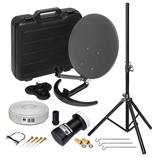 HD Camping Sat Anlage im Koffer ➕ Stativ von HB-DIGITAL:  Mini Sat Schüssel 40cm Anthrazit ➕ Stativ ➕ UHD Single LNB 0,1 dB ➕ 10m SAT-Kabel inkl. F-Stecker  4K UHD Full HD 1080p fähig