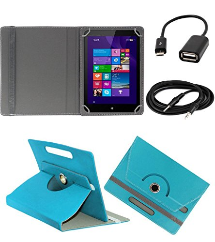 ECellStreet ROTATING 360° PU LEATHER FLIP CASE COVER FOR Micromax Canvas Tab P480 7 INCH TABLET STAND COVER HOLDER - Aqua Blue + Free Aux Cable + Free OTG Cable  available at amazon for Rs.234