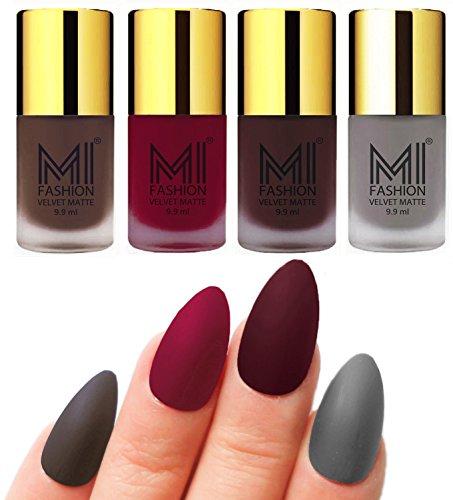 Mi Fashion Velvet Dull Matte Nail Polish, Coffee, Mauve, Wine, Grey, 39.6ml (4 Pieces)