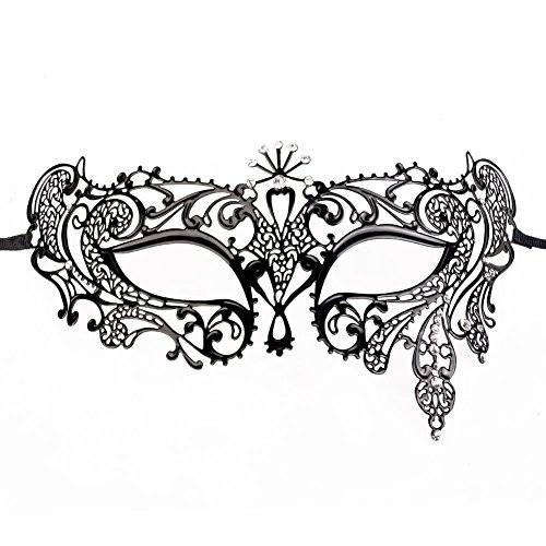 Venezianische Maske Damen Maskerade Maske Schwarz Maske Metall für Frauen mit Kristallen (19*7CM)