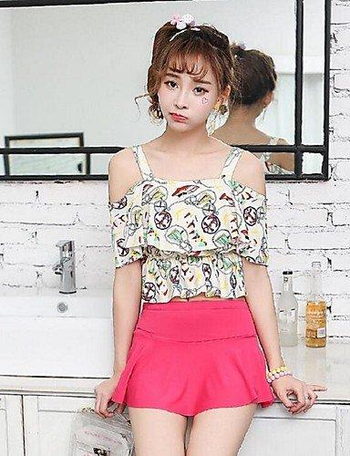 LQXZM La femme ,Tankini Bandeau Polyester Floral Ruffle XL