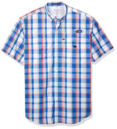 Columbia Herren Super Bonehead Classic Kurzarm Angelshirt, Bluse, Super Bonehead ClassicTM Short Sleeve Shirt, Vivid Blue Plaid, 2X - Bonehead Kurzarm-shirt