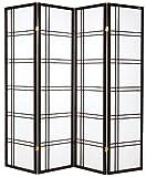 Cinius Paravent - Raumteiler - Holz Trennwand Shoji in natur Reispapier weiß mit 4 Stuecken. Modell Quadri Schwarz Farbe