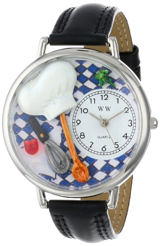 whimsical-watches-chef-black-skin-leather-and-silvertone-unisex-quartz-watch-with-white-dial-analogu