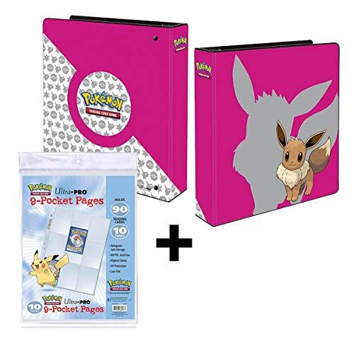 Lively Moments Pokemon Ultra-Pro 3-Ring-Ordner A4 in pink mit Evoli Sammelkartenalbum Eevee + 10 Seiten zum Einheften