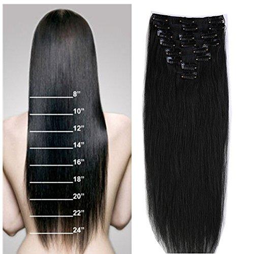 50cm 8 piece 18 clips parrucca donna extension clip capelli veri remy umani full head set vari colori