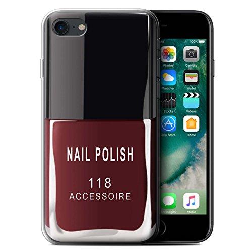 Stuff4 Gel TPU Hülle / Case für Apple iPhone 7 Plus / Rot Muster / Nagellack/Make-Up Kollektion Rot