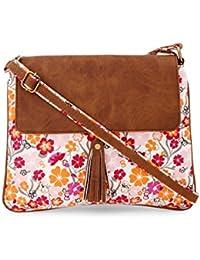 Vivinkaa Orange Floral Printed Canvas Tassle Sling Bag For Women