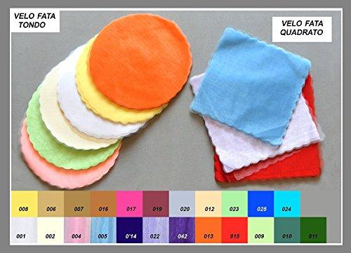 Confezione 150 pezzi vello di fata , tulle, QUADRATO, 'FAI DA TE'. Per confezionamento confetti e bomboniere. 24X24. (fcvfQ) (BIANCO 001)
