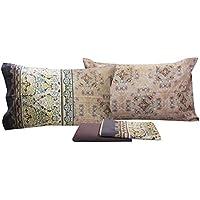 Juego de sábanas matrimoniales, de dos 2plazas de Bassetti Granfoulard - Nueva colección bajera con sábana encimera y 2fundas. LUINI - BEIGE