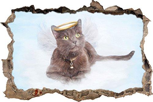 Katzen-Engel auf einer Wolke im Himmel Kunst Buntstift Effekt Wanddurchbruch im 3D-Look, Wand- oder...