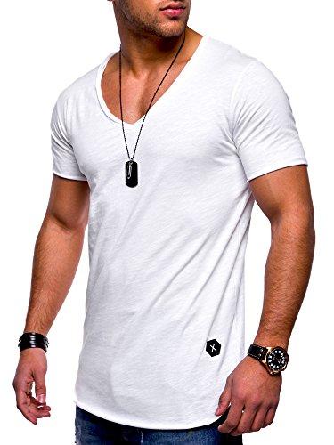 MT Styles Herren Oversize T-Shirt V-Neck Sweatshirt MT-7102 [Weiß, XL]