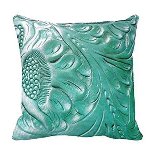LULABE Tooled Western Turquoise Leather Look Throw Pillow Cover for Couch Sofa Or Bed Set Cozy Home Decor Size:16 X 16 Inches/40cm x 40cm Vintage Tooled Western