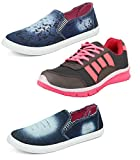 #6: Chevit Women's Trio Pack of 3 Casual Denim Sneakers Loafers Shoes and Running Shoes