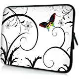MyGift 8 - 10 inch Brilliant Butterfly Escape White Floral Netbook Laptop Sleeve Slip Case Pouch Bag for Apple iPad 1 iPad 2 iPad 3 / most of Acer ASUS Dell HP Sony Toshiba