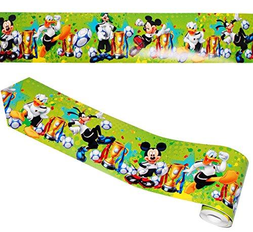 alles-meine.de GmbH Wandbordüre - selbstklebend -  Disney Mickey Mouse & Fussball  - 5 m - Wandsticker / Wandtattoo - Bordüre Aufkleber Kinderzimmer - für Kinder Jungen / Fußba..