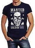 Neverless Herren T-Shirt Holzfäller Wanted Bart Totenkopf Lumberjack Navy 3XL