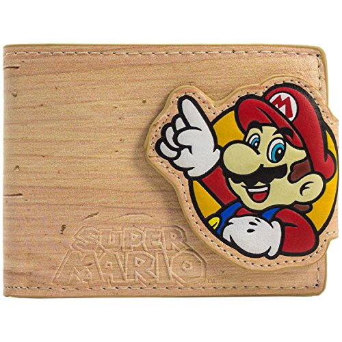 Cartera de Nintendo Super Mario and Luigi Efecto de madera marrón