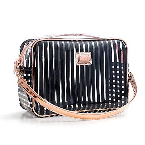 AMhuui Wasserdichte gestreifte PVC-Reisebag, klare Toiletrie-Makeup-Tasche, Travel Casewith Zipper Handle Straps,Black