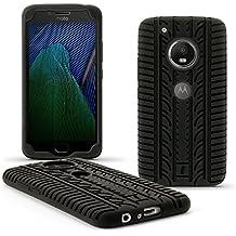 igadgitz Negro Neumático Silicona Gel Goma Funda Carcasa per Motorola Moto G 5ª Generación Plus (Lenovo Moto G5 Plus) Case Cover + Protector Pantalla