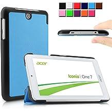 Infiland Acer Iconia ONE 7 B1-770 Funda Case-Ultra Delgada Tri-Fold Smart Case Cover PU Cuero Smart Cascara con Soporte para SAcer Iconia One 7 B1-770 - Tablet 7'' IPS (7 pulgadas) Tablet-PC(Azul Claro)