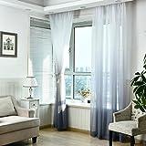 gardinen ❤️Timogee Vorhang Tüll Fenster Behandlung Voile Drape Valance Print Designs Blickdichte mit Kräuselband Günstige gardinen Wohnzimmer gardinen 270cm x 100cm (L x W) (Grau)