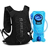 XBoze Trinkrucksack mit 2L Trinkblase, Atmungsaktiv Hydration Backpack Laufrucksack Joggen mit Trinksystem für Marathon, Wandern, Fahrradfahren, Klettern, Reisen und Bergsteigen (Schwarz)
